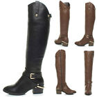WOMENS LADIES MID HEEL STIRRUP ZIP BUCKLE COWBOY RIDING KNEE BOOTS SIZE