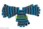 Name It Turquoise Blue Black & White Striped 3x Pairs Gloves Age 6-9 10-11 Years