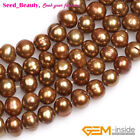 """Pretty Round Red Lime Bronze Blue Freshwater Pearl GEM Jewelry Making Beads 15"""""""