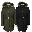 LADIES FUR LONG HOODED PADDED QUILTED BELTED PARKA JACKET COAT WOMENS SIZES 8-16
