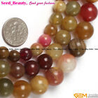 """Jewelry Making  Loose smooth round mixed color jade gemstone beads strand 15"""""""