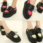 WOMENS GIRLS PLATFORM LACE UP TRENDY RETRO WOMENS FLATS CREEPERS GOTH PUNK SHOES