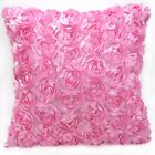 Sa212a Pink 3D Rose Flower Taffeta Satin Cushion Cover/Pillow Case*Custom Size*