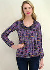 Organic Cotton Scoop Neck print top tunic purple Ethos Paris Klimt fair trade