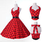 Halter Polka dot Swing 50s Housewife pinup Vintage Rockabilly EVENING Mini Dress