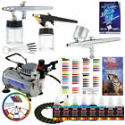 3 Airbrush System 6 Color Paint Kit Air Compressor Dual-Action Color Wheel Set