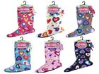 Girls Hearts Sherpa Fleece Boot Socks Slippers, Non Slip Sole, Winter Gift