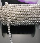 1M Silver Gold Plated Compact Close 4mm Clear Rhinestone Crystal Trim Chains