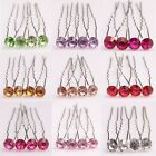 Hot Sale10pcs Stylish Fuchsia/Pink/Red Shiny Crystal Hair Pins For Wedding Party