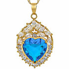 Women Jewellery Heart Cut Yellow Gold Plated Pendant Necklace Free Chain