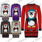 New Womens Ladies Novelty Long Length Xmas Full Sleeves Retro Knitted Jumper Top