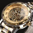 Mens Transparent Steampunk Skeleton Steel Mechanical Wrist Watch Men's Gifts