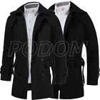 Men's Slim Fit Double Breasted Trench Coat Winter Warm Long Jacket Overcoat Hot