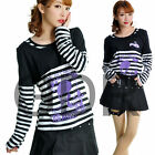 Freeship X LOLITA GOTHIC STRIPED SHIRT CUTE PUNK 71270 WHI M-L