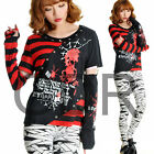 Freeship X LOLITA GOTHIC STRIPED SHIRT CUTE PUNK 71268 RED M-L