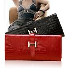 Women Fashion Crocodile Pattern Long Leather Clutch Wallet Handbags Ladies Purse