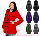 WOMENS BELTED COAT FLEECE MILITARY NEW LADIES JACKET PU COLLAR PLUS SIZES 8-20