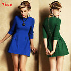 Vintage Womens 3/4 Sleeves Slim Waist Dress Chic Elastic Sexy Mini Skirt Dress