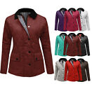 LADIES JACKET NEW WOMENS QUILTED PADDED BUTTON ZIP COAT PLUS SIZE 8 TO 20