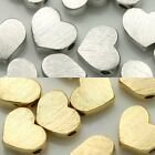 Heart Texture Matte Metal Beads Gold Silver Plated Pendants Vintage Jewelry #3