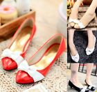Womens Ladies Bow Tie Pointed Toe Slip On Low Heeled Pumps Court Shoes Plus Size