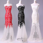 Strapless Lace Mermaid Prom Dress Party Evening Bridesmaid Dress Plus Size 2-16