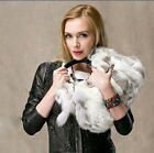 lady's  cute rex rabbit fur with short handle handbag clutch natural color