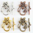 4 Sets Antique Slver/Gold/Bronze/Copper Flower ShapeToggle & Clasp Findings