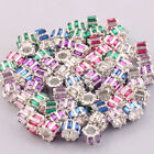 Wholesale Rectangle Multicolor Acrylic Drilling PMMA Silver Plated Charm Beads
