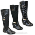 Ladies Boots Womens Long Shoes Diamond Quilted Wedge Heel Patent Buckle Winter