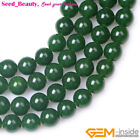 "Beauty round green jade gemstone jewelry making bead 15"" 4/6/8/10/12/14/16/18mm"