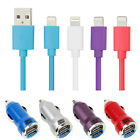 2m Apple Certified Lightning Cable+USB Car Charger For iPhone 6/6 Plus i Pad Air