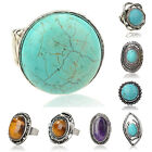 Mixed Nature Turquoise VTG Tibet Silver Adjustable Finger Cocktail Ring TZ226