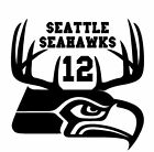 Seattle Seahawks Superbowl Decal Hunting Antler Truck Window Sticker Diecut 12th $13.0 USD on eBay