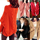 Womens Knitted Shawl Cardigan Batwing Casual Loose Sweater Coat Tops Outwear