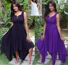sexy lace up bodice asym hem mini maxi dress 14 16 18 20 black white purple boho