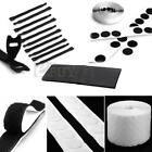 Black/White Round/strip Velcro cable ties Hook Loop  Coins Dots 4/10/500/1000
