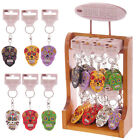 DAY OF THE DEAD MEXICAN WOODEN SKULL KEYRING ~RED GREEN WHITE ORANGE BLACK MAUVE