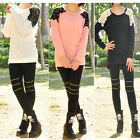 2014 Spring Women Girls Round Neck Long Sleeve Back Lace Knitwear Sweater Tops