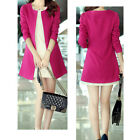"Women""s Slim Fit Crewneck Long Sleeve Jacket Solid OL Long Suit Blazer   [HA]"
