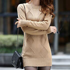 Slim Pullover Turtle Neck/Crewneck Mini Dress Thick Warm Knit Sweater  [HA]