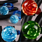 1Pc Murano Lampwork Glass Coral Flower Floral Finger Ring Jewelry Blue Green Red