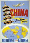TW82 Vintage 1950's China Chinese Travel Orient Airlines Poster A1/A2/A3/A4