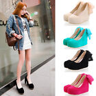 Womens Ladies Sweet Round Toe Chiffon Tie Platform Wedge Heel Court Shoes 8478