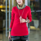 "Women""s Slim Splicing Turtle Neck Pullover Long Sleeve Solid T-shirt Blouse [HA]"