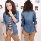 Fashion Lady Washed Jeans Suede Denim Shirt Button Down Long Sleeve Lapel Blouse