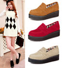 Womens Ladies Faux Suede Stitching Slip On Platform Penny Loafers Shoes X02
