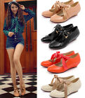 Womens Ladies Sweet Patent Round Toe Ribbon Bow Tie Pumps Shoes Plus Size 6-2