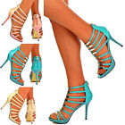 Ladies Caged Strappy Stiletto Sandals Gold Plate Snake Skin High Heel Shoes Size