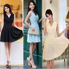 Womens Chiffon Pleated A Line Princess Sleeveless Cocktail Party Dress Skirt